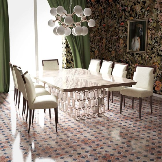 Art-Deco-Table Straight Husk in room
